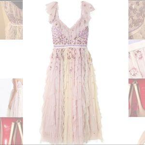 Needle and Thread Rainbow ruffled tulle midi dress